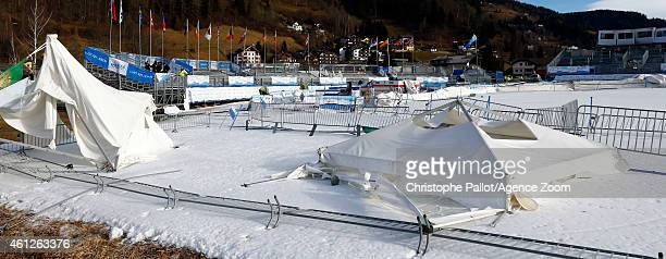 Tents lie on the ground after a windstorm which forced the Audi FIS Alpine Ski World Cup Women's Downhill to be cancelled on January 10 2015 in Bad...