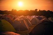 Tents at a festival campsite
