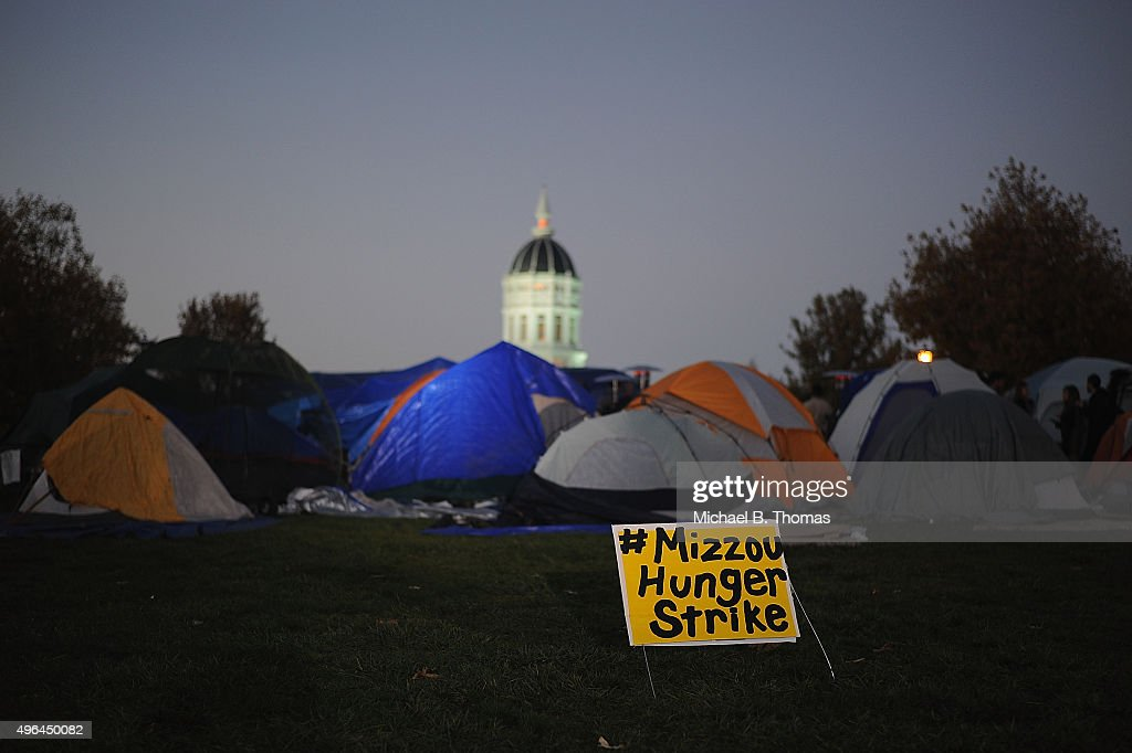 Tents remain on the Mel Carnahan quad on the campus of University of Missouri Columbia on November 9 2015 in Columbia Missouri University of Missouri...
