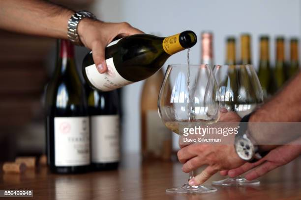 Tenuta delle Terre Nere's Etna Bianco DOC 2016 white wine is served during a tasting at the winery located on the northern slope of the Mt Etna...