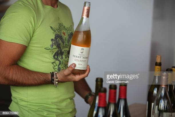 Tenuta delle Terre Nere's Etna Rosato DOC 2016 rose wine is served during a tasting at the winery located on the northern slope of the Mt Etna...