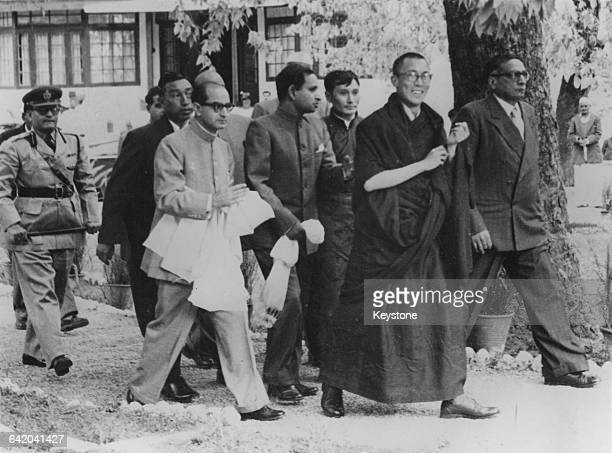 Tenzin Gyatso the 14th Dalai Lama arrives at Birla House in Mussoorie India after fleeing from Tibet April 1959 Photo by Keystone/Hulton...