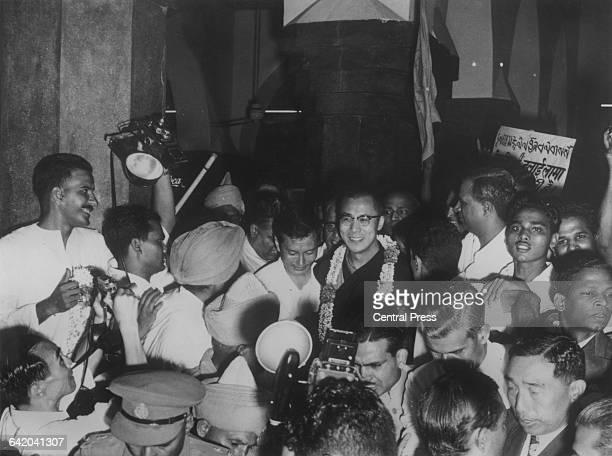 Tenzin Gyatso the 14th Dalai Lama arrives at Delhi railway station from Mussoorie a few months after fleeing Tibet 7th September 1959