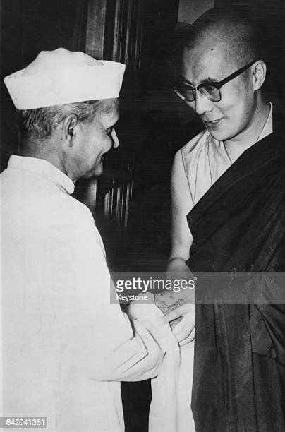 Tenzin Gyatso the 14th Dalai Lama meets Lal Bahadur Shastri the Prime Minister of India at Parliament House New Delhi India September 1964