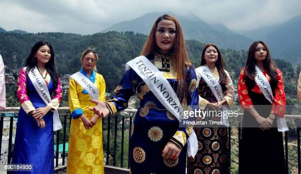 Tenzin Norzom from Manali one of the Miss Tibet participants introduces herself during the introduction round held at Mcleodganj Town on May 30 2017...
