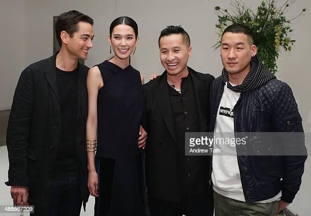 Tenzin Wild Tao Okamoto Phillip Lim Richard Chai attend the 'Tao Okamoto 15' Exhibition Opening at Hudson Studios on May 8 2014 in New York City