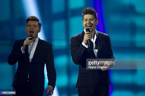 Teo of Belarus performs on stage during the grand final of the Eurovision Song Contest 2014 on May 10 2014 in Copenhagen Denmark