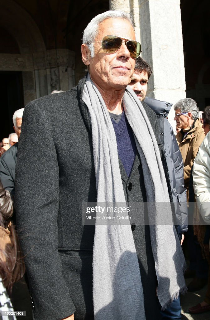 Teo Teocoli attends the funeral of Singer Enzo Jannacci at Basilica di Sant'Ambrogio on April 2, 2013 in Milan, Italy.