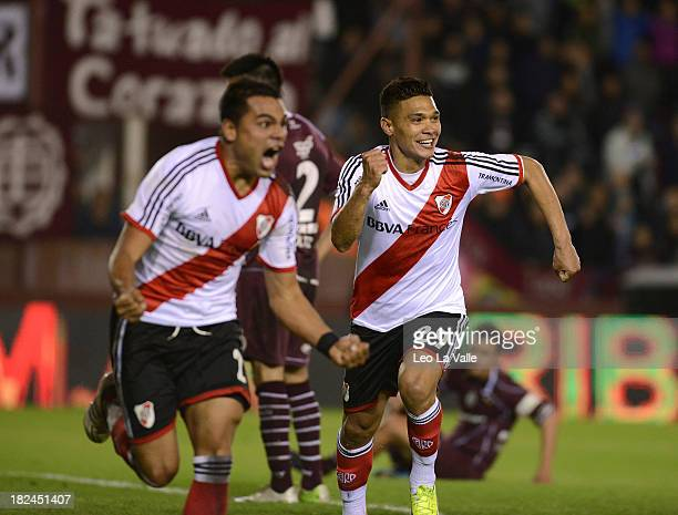 Teofilo Gutierrez and Gabriel Mercado celebrate the first goal against Lanus during a match between Lanus and River Plate as part of the Torneo...