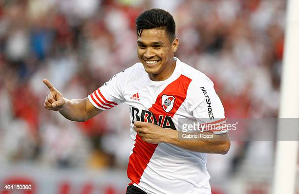 Teofilo Gutierrez od River plate celebrates after scoring the first goal of his team during a match between River Plate and Quilmes as part of second...