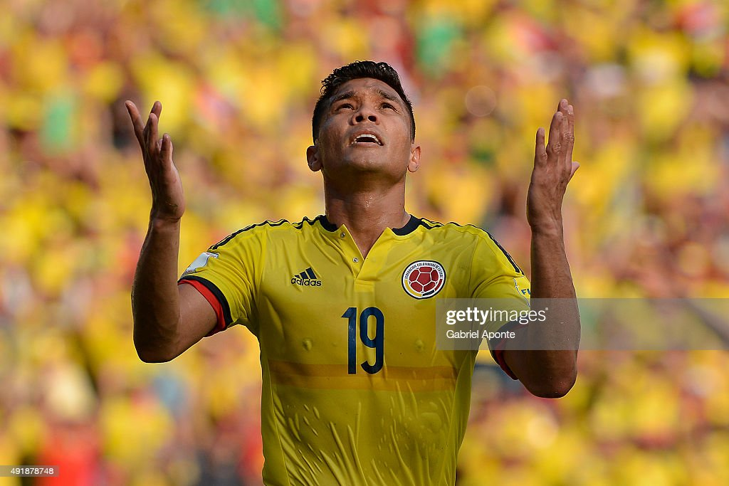 <a gi-track='captionPersonalityLinkClicked' href=/galleries/search?phrase=Teofilo+Gutierrez&family=editorial&specificpeople=5901237 ng-click='$event.stopPropagation()'>Teofilo Gutierrez</a> of Colombia celebrates after scoring the opening goal during a match between Colombia and Peru as part of FIFA 2018 World Cup Qualifier at Metropolitano Roberto Melendez Stadium on October 08, 2015 in Barranquilla, Colombia.