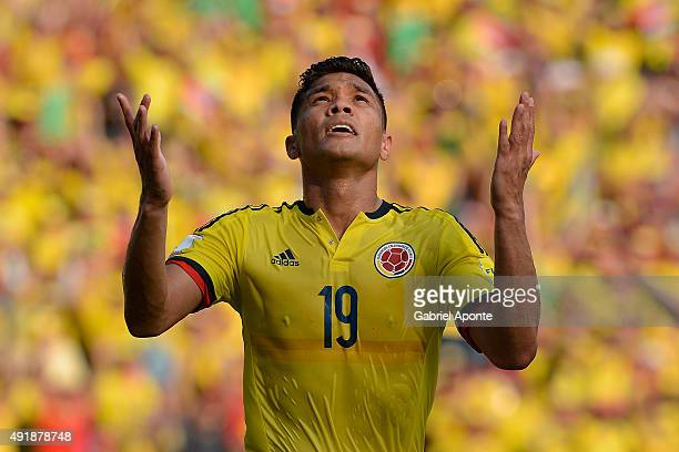 Teofilo Gutierrez of Colombia celebrates after scoring the opening goal during a match between Colombia and Peru as part of FIFA 2018 World Cup...
