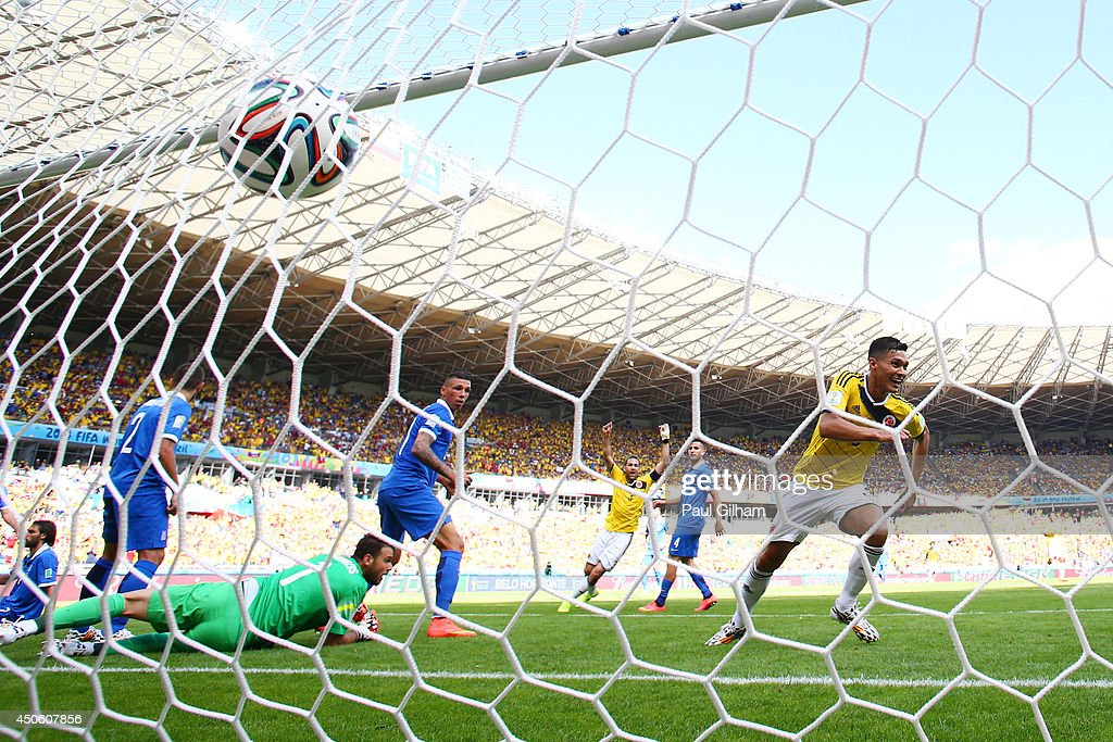Teofilo Gutierrez of Colombia celebrates scoring his team's second goal against goalkeeper Orestis Karnezis of Greece during the 2014 FIFA World Cup Brazil Group C match between Colombia and Greece at Estadio Mineirao on June 14, 2014 in Belo Horizonte, Brazil.