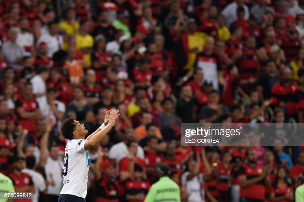 Teofilo Gutierrez of Colombia's Junior de Barranquilla celebrates after scoring against Brazil's Flamengo during their Copa Sudamericana first leg...