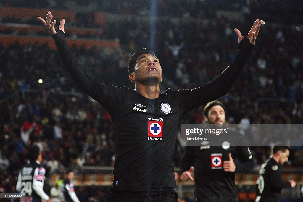 Teofilo Gutierrez of Cruz Azul celebrates score a goal against Pachuca during the Clausura 2013 Liga MX at Hidalgo Stadium on February 16, 2013 in Pachuca, Mexico.