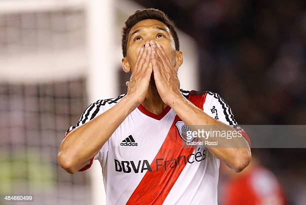Teofilo Gutierrez of River Plate celebrates after scoring the second goal of his team during a match between River Plate and Atletico Rafaela as part...