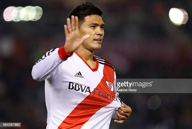 Teofilo Gutierrez of River Plate celebrates after scoring the third goal of his team during a match between River Plate and Defensa y Justicia as...