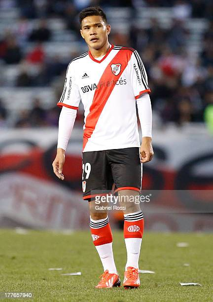 Teofilo Gutierrez of River Plate looks on during a match between River Plate and Colon de Santa Fe as part of the Torneo Inicial 2013 at Monumental...