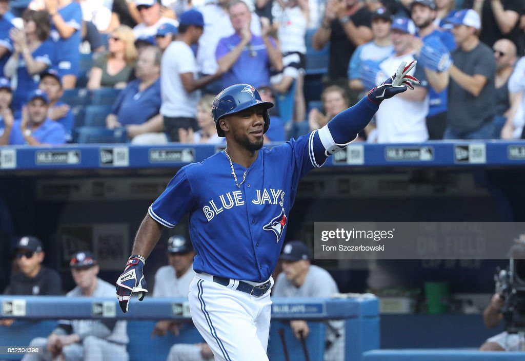 Teoscar Hernandez #37 of the Toronto Blue Jays celebrates after hitting a solo home run in the third inning during MLB game action against the New York Yankees at Rogers Centre on September 23, 2017 in Toronto, Canada.