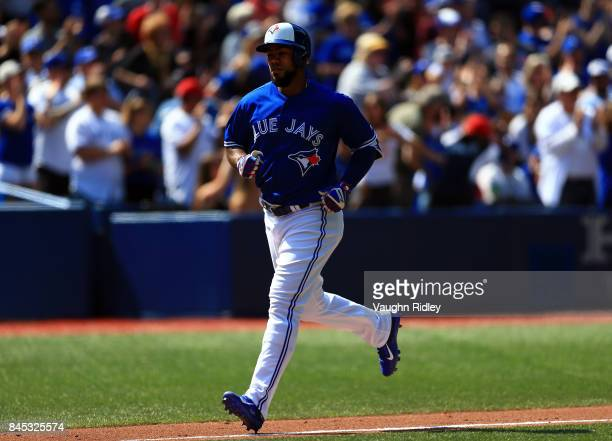 Teoscar Hernandez of the Toronto Blue Jays runs the bases after hitting a tworun home run in the fourth inning during MLB game action against the...