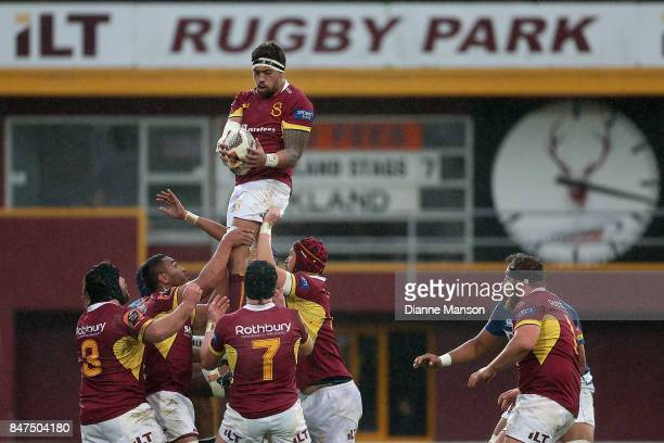 Tepasu Thomas of Southland secures a lineout ball during the round five Mitre 10 match between Southland and Auckland at Rugby Park Stadium on...
