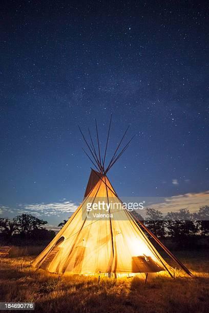 Tepee at night