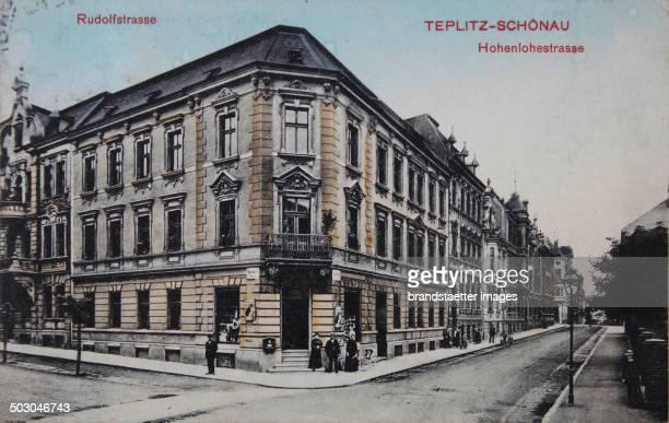 Teplice Rudolfstraße and Hohenlohestraße 1912 Color picture postcard