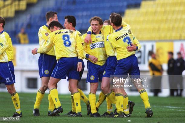 FK Teplice's players celebrate after scoring