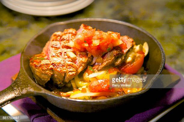 Teppanyaki beef in griddle