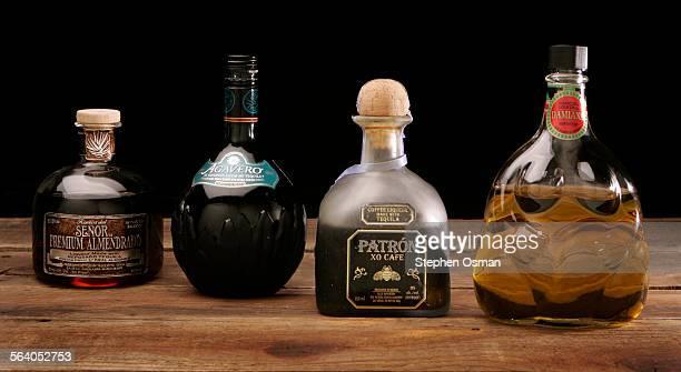 Tequila liqueurs from left Reserva del Senor premium almendrado Agavero Patron XO Cafe and Damiana