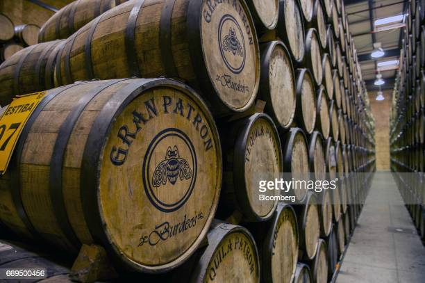 Tequilas age in oak casks in the cellar of the Patron Spirits Co distillery in Atotonilco El Alto Jalisco Mexico on Tuesday April 4 2017 The Trump...