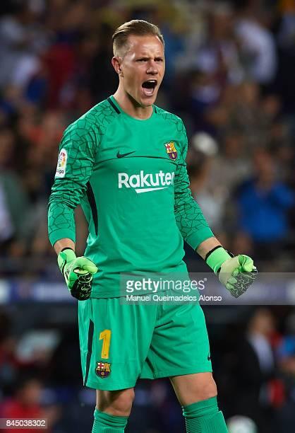 Ter Stegen of Barcelona celebrates during the La Liga match between Barcelona and Espanyol at Camp Nou on September 9 2017 in Barcelona Spain