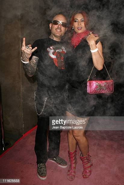 Tera Patrick and Evan Seinfeld attend the PJE Los Angeles / Tera Patrick Red Carpet Blowout Of A New TShirt Collection Launch on June 18 2008 at the...