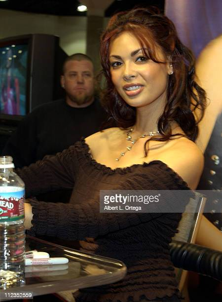 Tera Patrick at Digital Playground booth during Erotica LA 2002 at The Los Angeles Convention Center in Los Angeles California United States