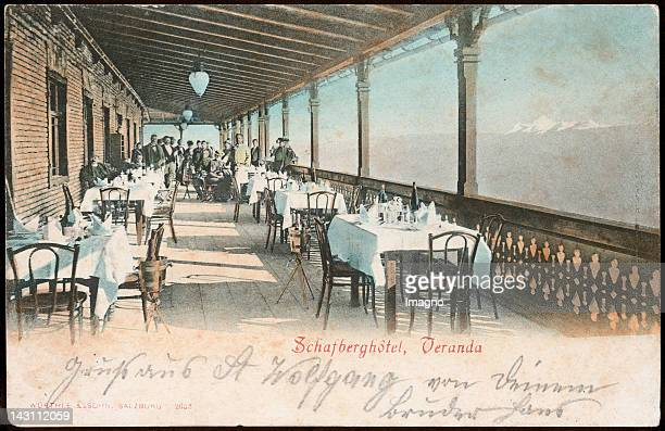 Terace of the Schafberg Hotel Wolfgangsee Austria Picture post card 1901