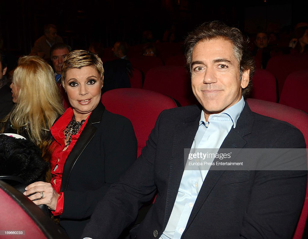 Terelu Campos and Carlos Pombo attend 'Sofocos' theatre play premiere at Nuevo Apolo Theatre on January 17, 2013 in Madrid, Spain.
