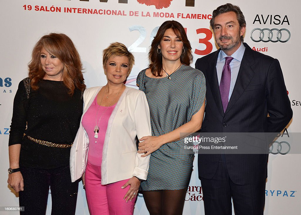 Terelu Campos (3R) and Raquel Revuelta (2R) attend International Flamenco Fashion Show 'SIMOF' on February 2, 2013 in Seville, Spain.