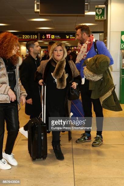 Terelu Campos and the director Raul Prieto are seen at the airport to travel to New York where they are going to film a new season of 'Las Campos' tv...