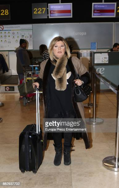Terelu Campos is seen at the airport to travel to New York where they are going to film a new season of 'Las Campos' tv show on November 29 2017 in...