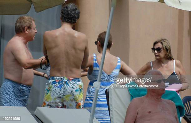 Terelu Campos Maria Teresa Campo and Carlos Pombo are sighting on August 12 2012 in Marbella Spain