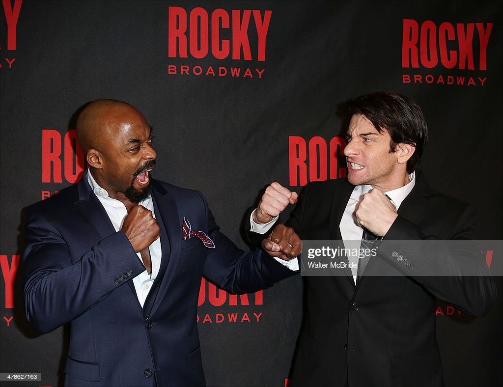 Terence Archie and <a gi-track='captionPersonalityLinkClicked' href=/galleries/search?phrase=Andy+Karl&family=editorial&specificpeople=2312238 ng-click='$event.stopPropagation()'>Andy Karl</a> attends the 'Rocky' Broadway Opening Night After Party at Roseland Ballroom on March 13, 2014 in New York City.