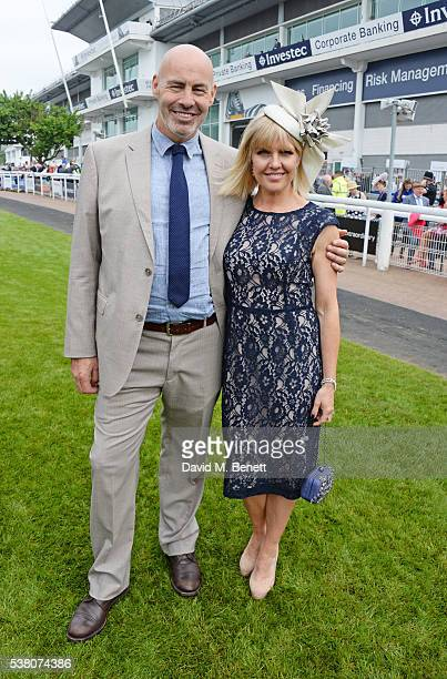 Terence Beesley and Ashley Jensen attend Derby Day during the Investec Derby Festival celebrating The Queen's 90th Birthday at Epsom Downs Racecourse...