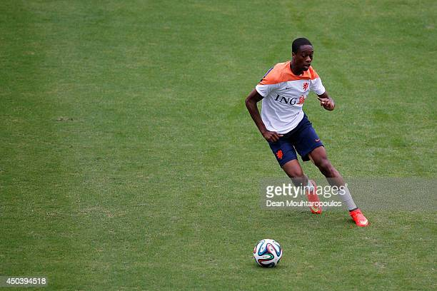 Terence Kongolo in action during the Netherlands training session at the 2014 FIFA World Cup Brazil held at the Estadio Jose Bastos Padilha Gavea on...