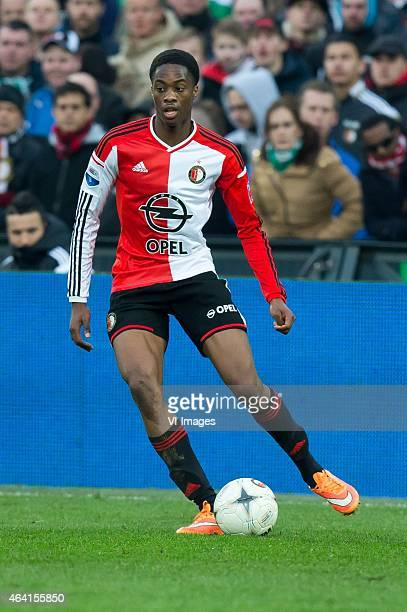 Terence Kongolo of Feyenoord during the Dutch Eredivisie match between Feyenoord and Excelsior Rotterdam at the Kuip on February 22 2015 in Rotterdam...