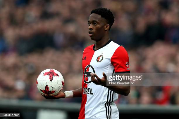 Terence Kongolo of Feyenoord looks on during the Dutch Eredivisie match between Feyenoord and PSV Eindhoven at De Kuip on February 26 2017 in...