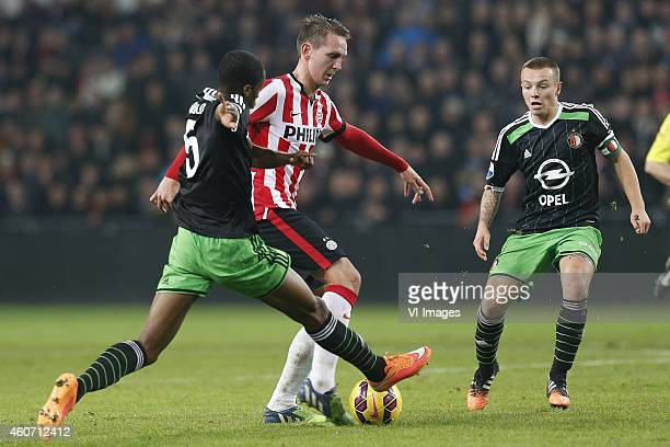 Terence Kongolo of Feyenoord Luuk de Jong of PSV Jordy Clasie of Feyenoord during the Dutch Eredivisie match between PSV Eindhoven and Feyenoord at...