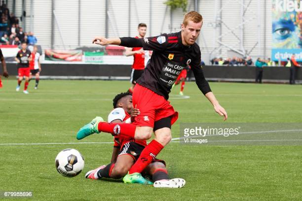 Terence Kongolo of Feyenoord Mike van Duinen of Excelsiorduring the Dutch Eredivisie match between sbv Excelsior Rotterdam and Feyenoord Rotterdam at...