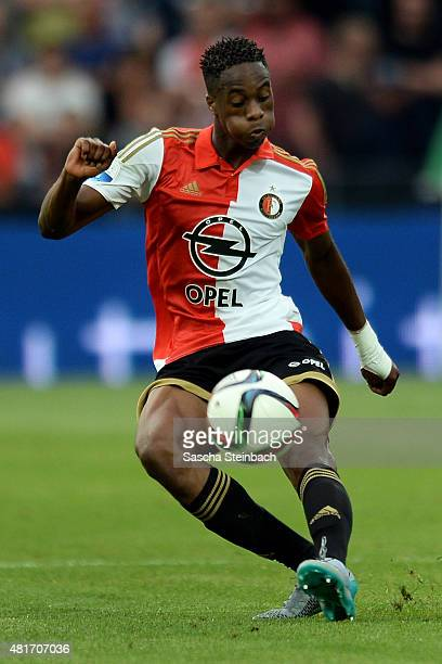 Terence Kongolo of Feyenoord runs with the ball during the pre season friendly match between Feyenoord Rotterdam and Southampton FC at De Kuip on...
