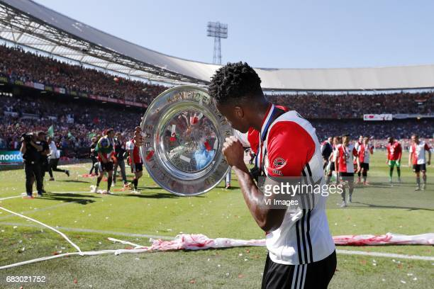 Terence Kongolo of Feyenoord with the tropheeduring the Dutch Eredivisie match between Feyenoord Rotterdam and Heracles Almelo at the Kuip on May 14...