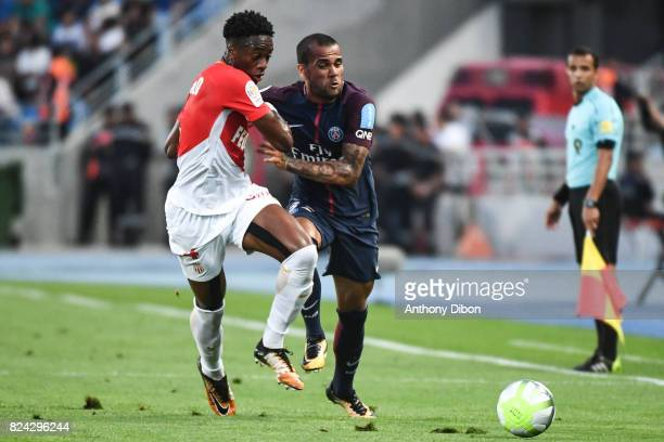 Terence Kongolo of Monaco and Daniel Alves of PSG during the Champions Trophy match between Monaco and Paris Saint Germain at Stade IbnBatouta on...